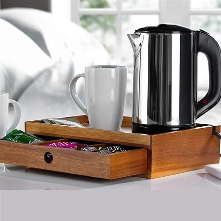 Hotel bedroom welcome trays and kettles from Out of Eden